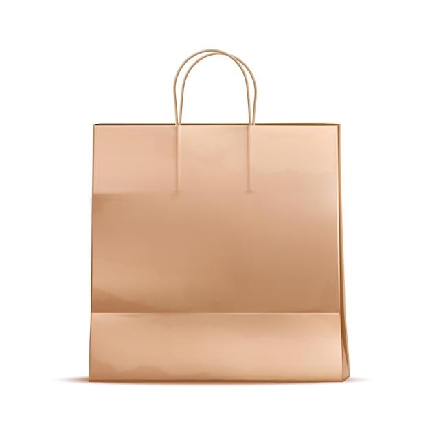 Realistische papieren boodschappentas. kartonnen blanco merchandise-pakket. Premium Vector
