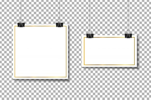 Realistische papieren witte kaders op de transparante achtergrond voor decoratie en huisstijl. Premium Vector