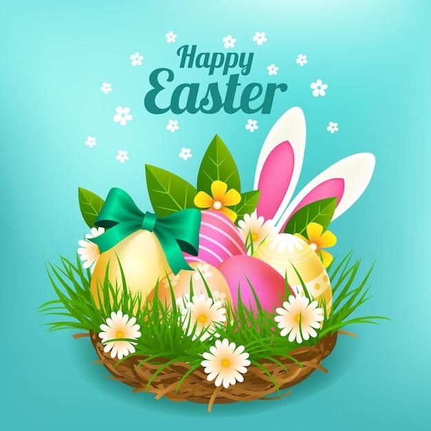 Realistische pasen-illustratie met eieren en konijntjesoren Gratis Vector