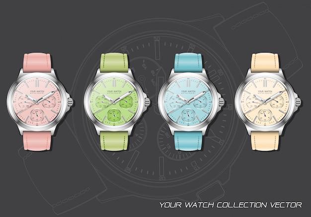 Realistische pastel chronograafcollectie met klokhorloge op donkergrijs. Premium Vector