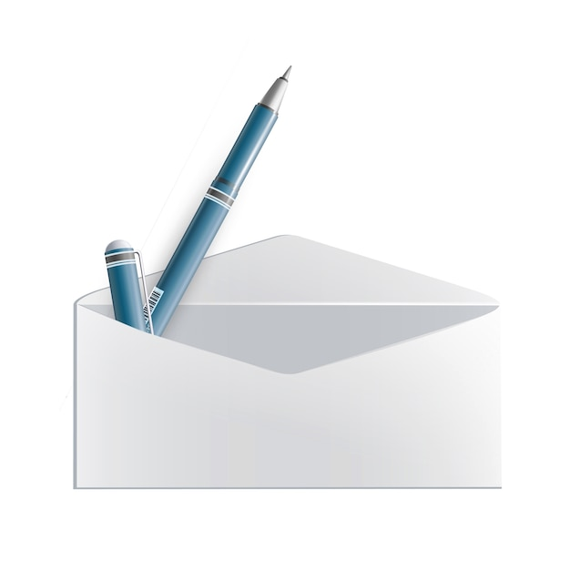 Realistische pen binnen de envelop Premium Vector