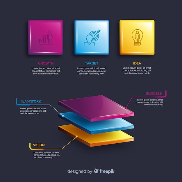 Realistische plastic infographic elementenverzameling Gratis Vector