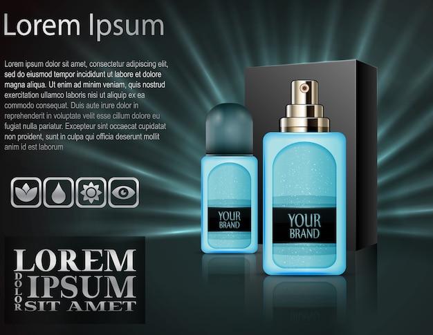 Realistische plastic parfumflesjes met pakketdoos Premium Vector