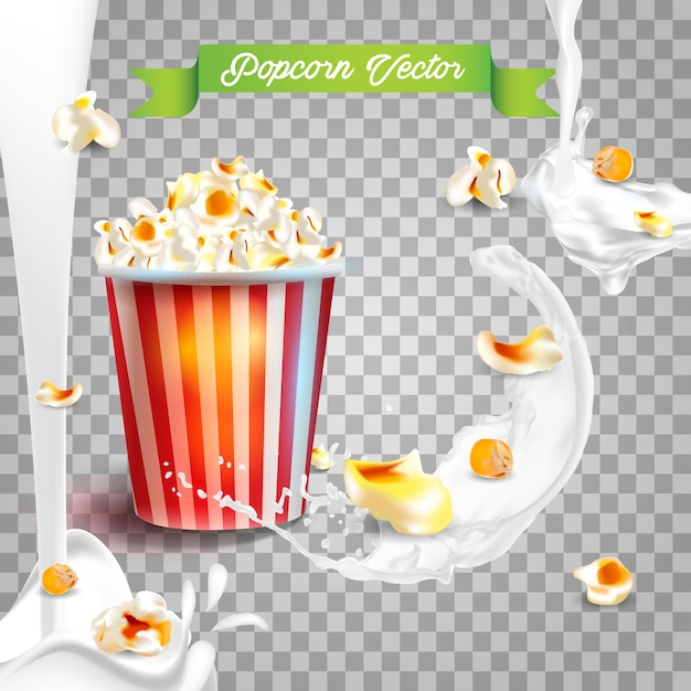 Realistische popcorn in melkspatten. Premium Vector