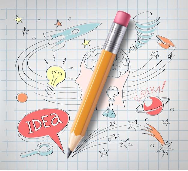 Realistische potlood op papier met gekleurde schets creatief onderwijs Premium Vector
