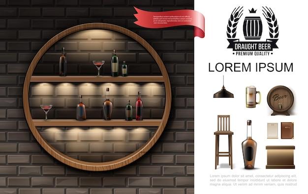 Realistische pubsamenstelling met ronde plank van cocktails en flessen alcohol drinkt lamp bierglas houten vat menu stoel bar teller Premium Vector