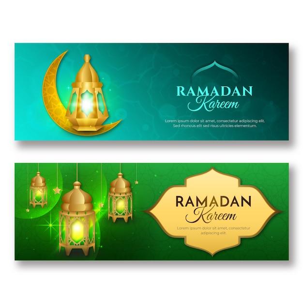 Realistische ramadan-banners Gratis Vector