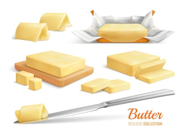 Realistische reeks boterplakkenstokken en broodjes geïsoleerde illustratie Gratis Vector