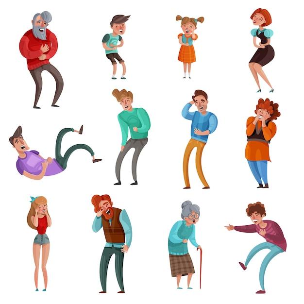 Realistische reeks mannelijke en vrouwelijke lachende mensenvolwassenen en kinderen die op wit worden geïsoleerd Gratis Vector