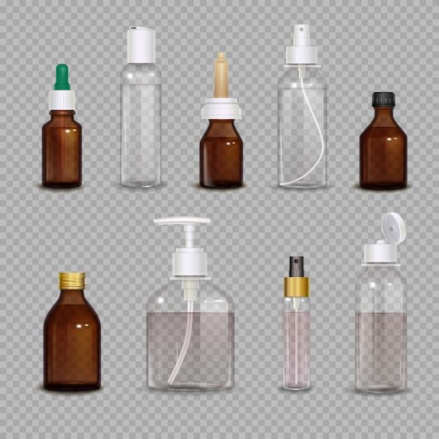 Realistische reeks verschillende flessen Gratis Vector