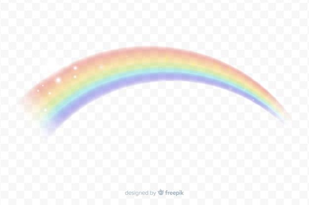Realistische regenboog boog achtergrond Gratis Vector