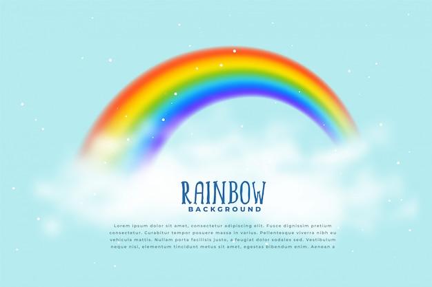 Realistische regenboog en wolkenachtergrond Gratis Vector