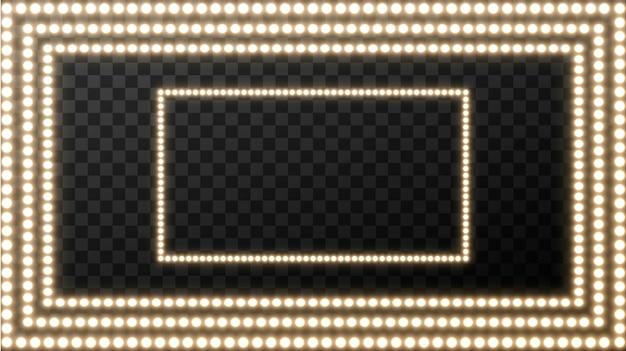 Realistische retro gloeilamp op het plein. gloeiend filmuithangbord met gouden gloeilamp met lege ruimte voor tekst. Premium Vector