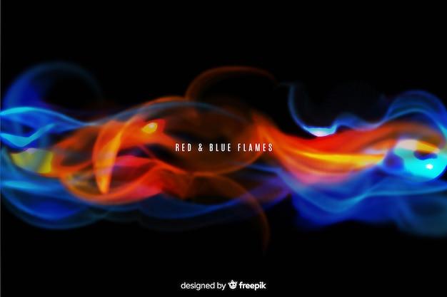 Realistische rode en blauwe vlammenachtergrond Gratis Vector