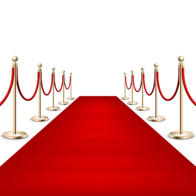 Realistische rode loper tussen touwbarrières op ceremonieel vip-evenement. geïsoleerd op wit. Premium Vector