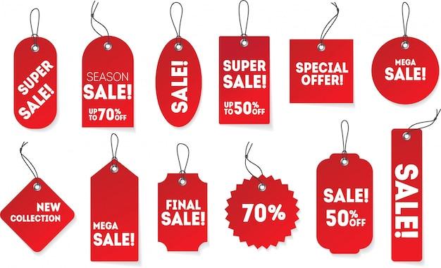 Realistische rode papieren hangende etiketten in verschillende vormen. prijskaartje set met speciale aanbieding, super verkoop, nieuwe collectie. korting teken promotie sjabloon. Premium Vector