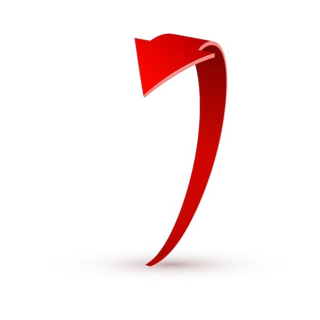 Realistische rode wervelende pijl. illustratie op een wit Premium Vector
