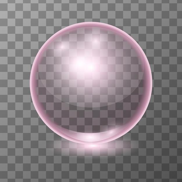 Realistische roze transparante glazen bol, glansbol of soepbel Premium Vector