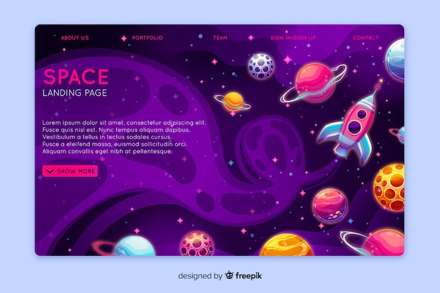 Realistische ruimte-bestemmingspagina-sjabloon Gratis Vector