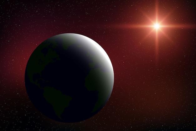 Realistische ruimteachtergrond met aarde in het heelal Premium Vector