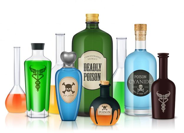 Realistische samenstelling van gifflessen met glazen buizen en vaten gevuld met kleurrijke vloeistoffen Gratis Vector
