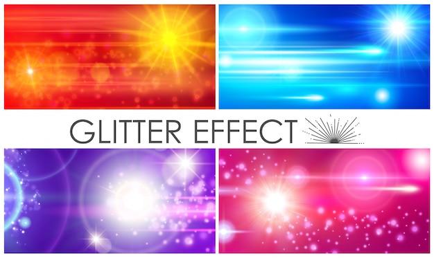 Realistische samenstelling van glitterlichteffecten met kleurrijke sprankelende lensfakkels en zonlichteffecten Gratis Vector