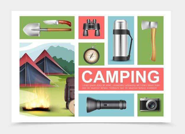 Realistische samenstelling van kampeerelementen met schop bijl mes verrekijker kompas thermosfles zaklamp camera rugzak gitaar dichtbij kampvuur en tenten Gratis Vector