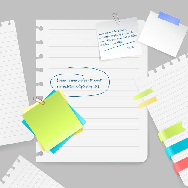 Realistische samenstelling van kleurrijke lege bladen en stukken van document met nota's en band op grijze vectorillustratie als achtergrond Gratis Vector
