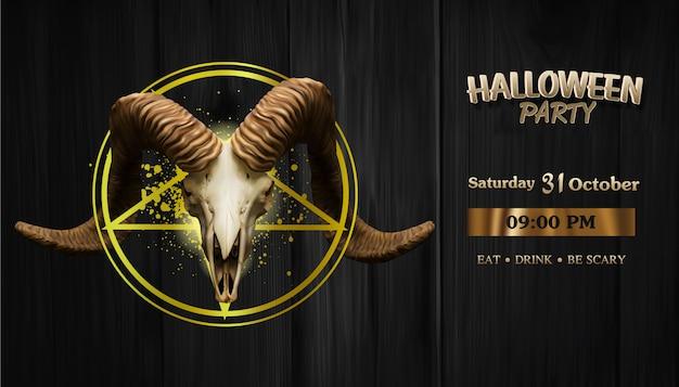 Realistische satan-geitschedel op satan star, halloween-partijbanner Premium Vector