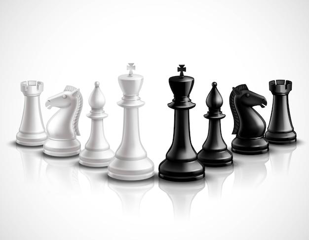 Realistische schaakspel stukken 3d-pictogrammen instellen met reflectie Gratis Vector
