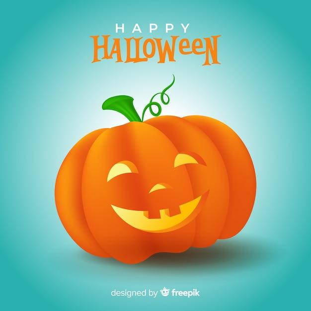Realistische schattige halloween-pompoen Gratis Vector
