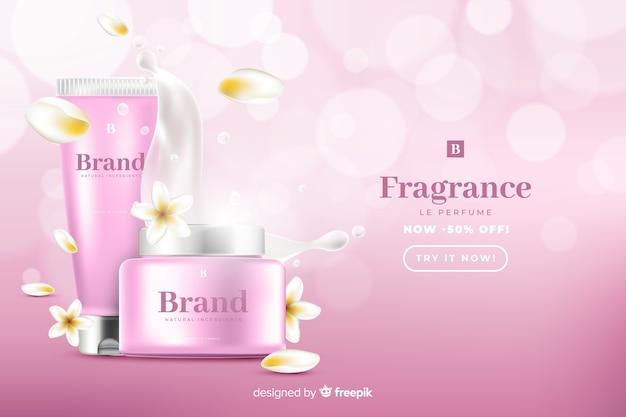Realistische schoonheid verkoop advertentiesjabloon Gratis Vector