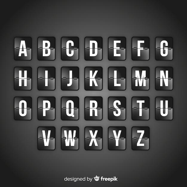 Realistische scorebord stijl alfabet Gratis Vector
