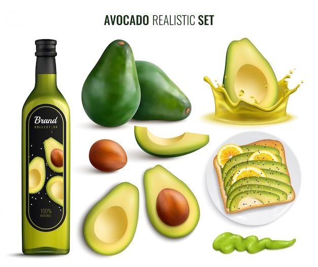 Realistische set met avocado fruitolie sandwich en guacamole pictogrammen geïsoleerd op wit Gratis Vector