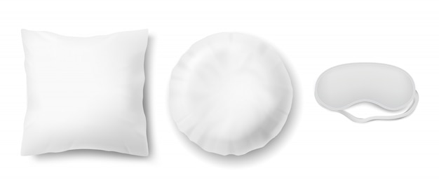 Realistische set met blinddoek en twee schone witte kussens, vierkant en rond Gratis Vector