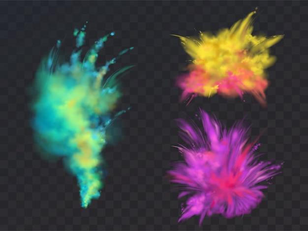 Realistische set van kleurrijke poeder wolken of explosies, geïsoleerd op transparante achtergrond. Gratis Vector