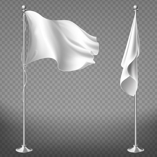 Realistische set van twee witte vlaggen op stalen palen geïsoleerd op transparante achtergrond. Gratis Vector