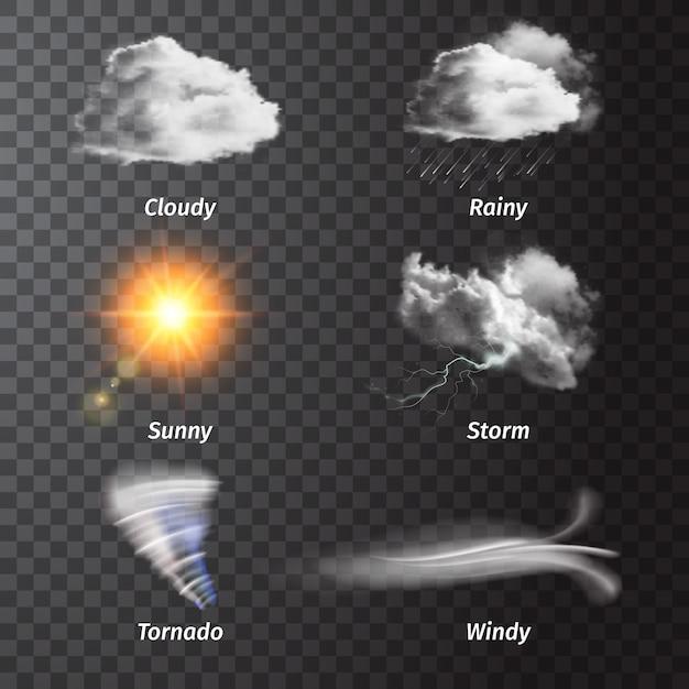 Realistische set weerpictogram set met bewolkte zonnige storm regenachtige winderige beschrijvingen Gratis Vector
