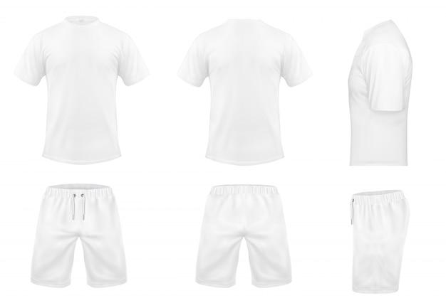 Realistische set witte t-shirts met korte mouwen en korte broeken, sportkleding, sportuniform Gratis Vector