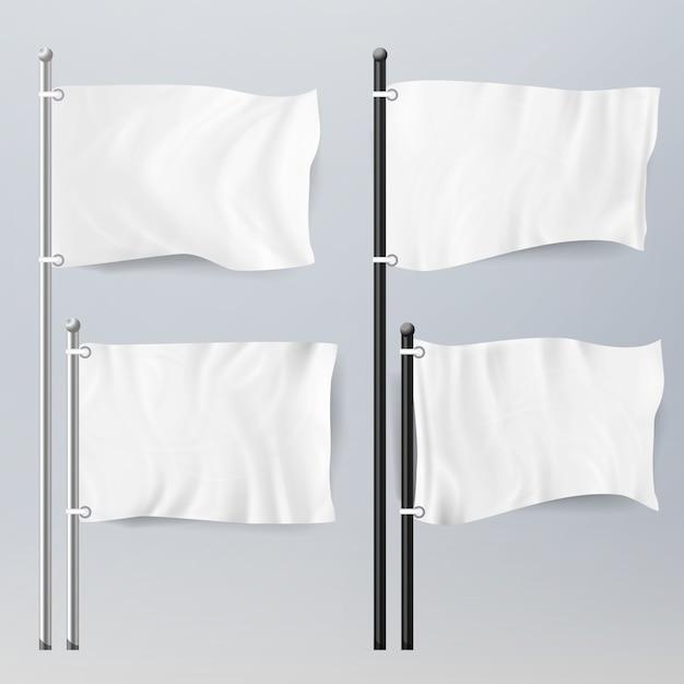 Realistische sjabloon lege witte vlaggen Premium Vector