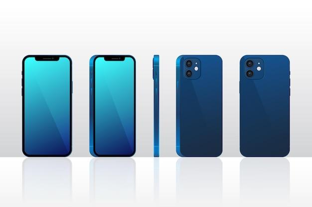 Realistische smartphone in verschillende perspectieven Gratis Vector