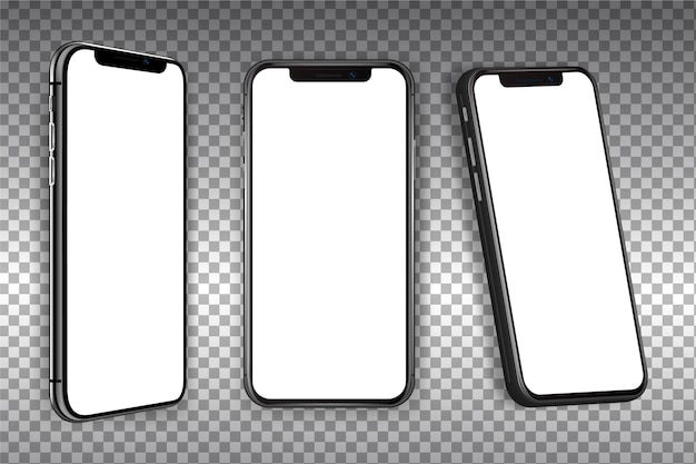 Realistische smartphone in verschillende weergaven Premium Vector