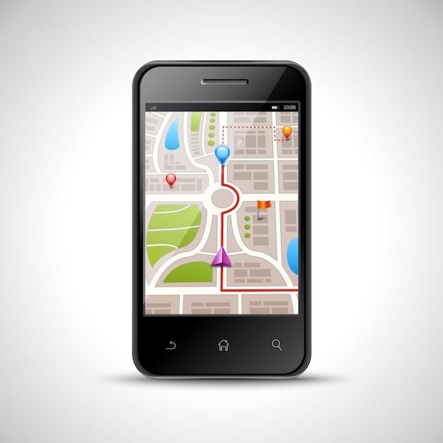 Realistische smartphone met gps navigatiekaart op het scherm geïsoleerd Gratis Vector