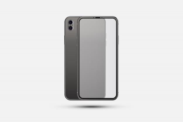 Realistische smartphone. voorzijde met transparant scherm en achterzijde met camera's Premium Vector