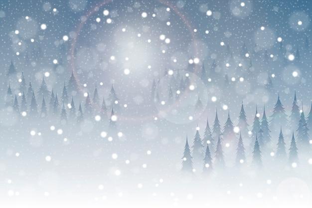 Realistische sneeuwval achtergrond Gratis Vector
