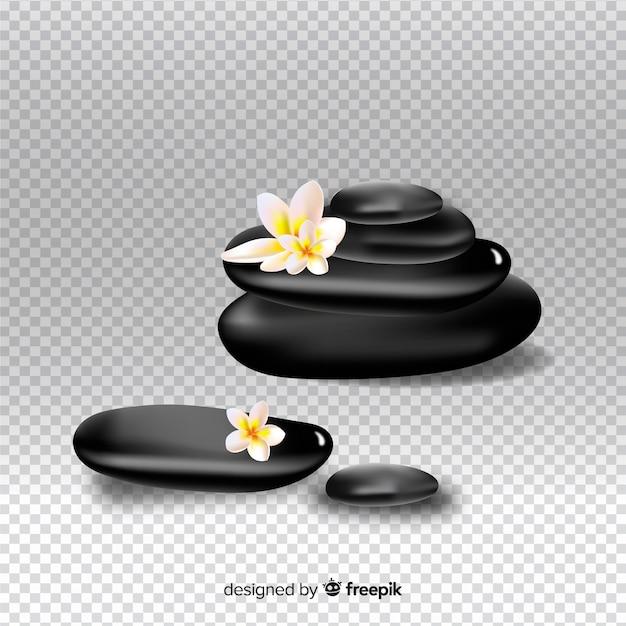 Realistische spa stenen met bloemen op transparante achtergrond Gratis Vector