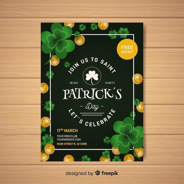Realistische st. patrick's dag flyer sjabloon Gratis Vector