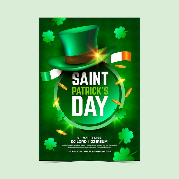 Realistische st. patrick's day sjabloon folder Gratis Vector