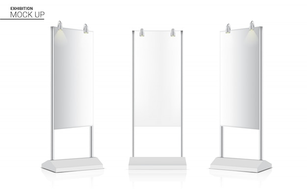 Realistische standaard roll up banner kiosk display 3d pop booth met spotlight Premium Vector