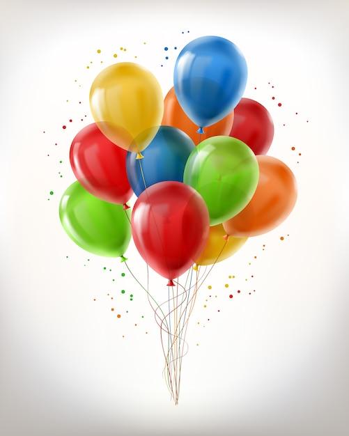 Realistische stelletje vliegende glanzende ballonnen, veelkleurig, gevuld met helium Gratis Vector